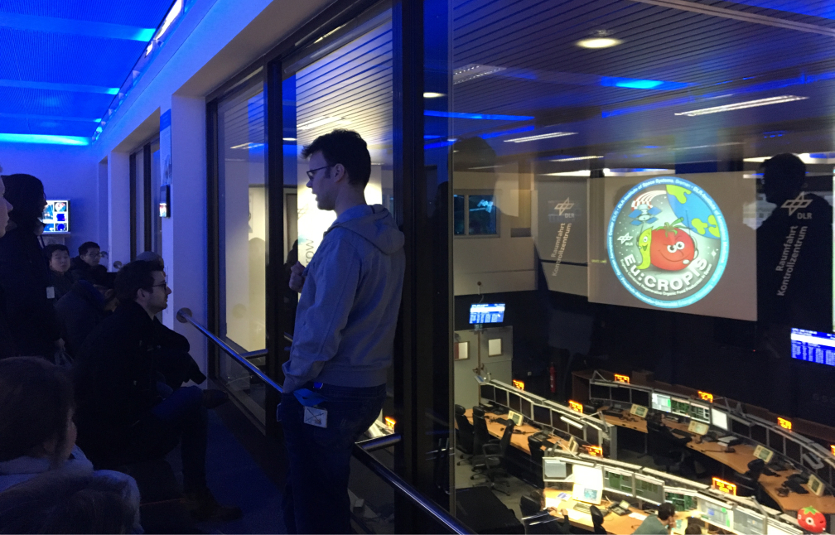 Tobias Göttfert explains the operations in one of the control rooms at the German Space Operations Center (GSOC)